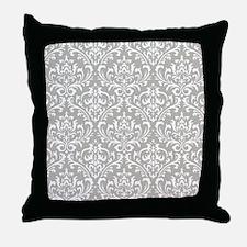 modern vintage grey and white damask Throw Pillow