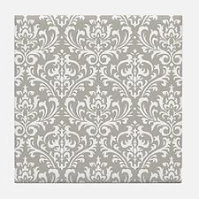 modern vintage grey and white damask Tile Coaster