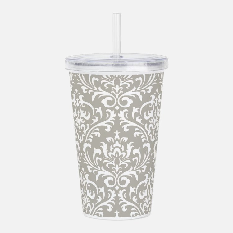 modern vintage grey and white damask Acrylic Doubl