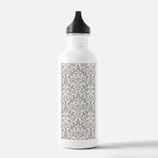 modern vintage grey and white damask Water Bottle
