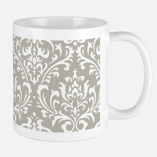 modern vintage grey and white damask Mugs