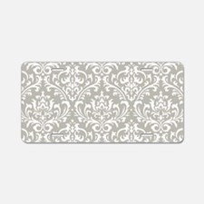 modern vintage grey and white damask Aluminum Lice