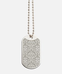 modern vintage grey and white damask Dog Tags