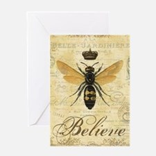 modern vintage French queen bee Greeting Cards