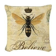 modern vintage French queen bee Woven Throw Pillow