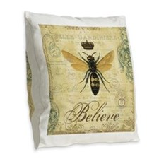 modern vintage French queen bee Burlap Throw Pillo
