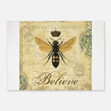 modern vintage French queen bee 5'x7'Area Rug