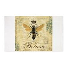 modern vintage French queen bee 3'x5' Area Rug
