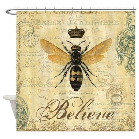 Modern vintage french queen bee shower curtain by