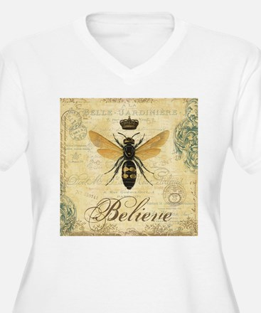 modern vintage French queen bee Plus Size T-Shirt