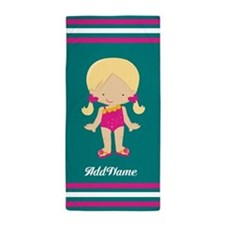 Pink Teal Stripes Girl Custom Beach Towel