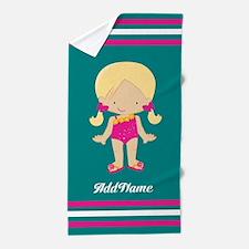 Pink Teal Stripes Girl Custom Beach Towel
