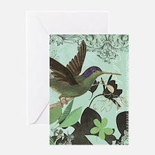 modern vintage French hummingbird Greeting Cards