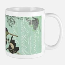 modern vintage French hummingbird Mugs