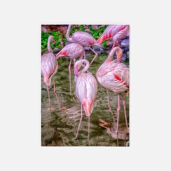 Pink Flamingos 5'x7'Area Rug