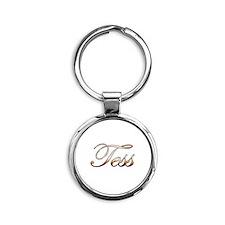 Gold Tess Round Keychain