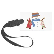 Snowman in the Christmas Trees Luggage Tag