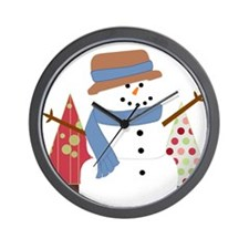 Snowman in the Christmas Trees Wall Clock
