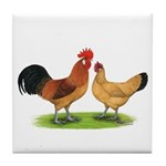 Buff Catalana Chickens2 Tile Coaster