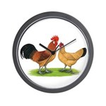 Buff Catalana Chickens2 Wall Clock