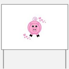 Pink Pig With Hearts Yard Sign