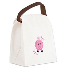 Pink Pig With Hearts Canvas Lunch Bag