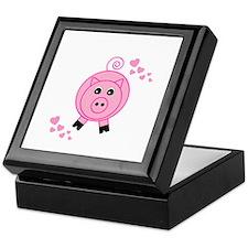 Pink Pig With Hearts Keepsake Box