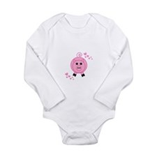 Pink Pig With Hearts Body Suit