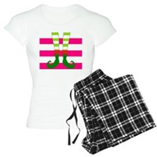 Elf Feet on Pink Stripes Pajamas