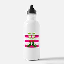 Elf Feet on Pink Stripes Water Bottle