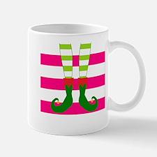 Elf Feet on Pink Stripes Mugs