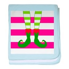 Elf Feet on Pink Stripes baby blanket