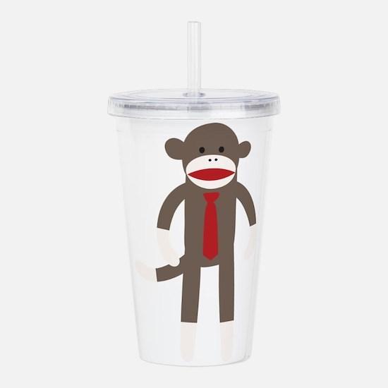 Red Tie Sock Monkey Acrylic Double-wall Tumbler