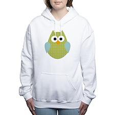 Green Blue Polka Dot Owl Women's Hooded Sweatshirt