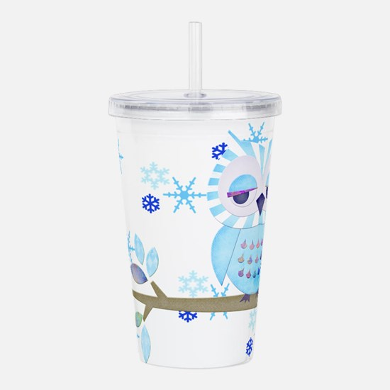 Blue Striped Winter Snow Owl Acrylic Double-wall T