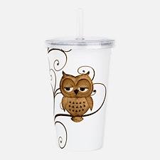 Brown Swirly Tree Owl Acrylic Double-wall Tumbler