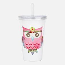 Pink Gypsy Owl Acrylic Double-wall Tumbler