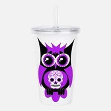 Purple Sugar Skull Owl.png Acrylic Double-wall Tum