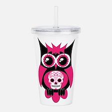 Pink Sugar Skull Owl.png Acrylic Double-wall Tumbl