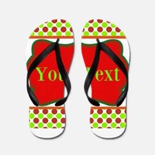 Personalizable Red and Green Polka Dots Flip Flops