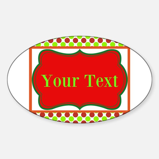 Personalizable Red and Green Polka Dots Decal