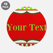 """Personalizable Red and Green Polka Dots 3.5"""" Butto"""