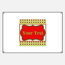 Personalizable Red and Green Polka Dots Banner