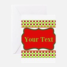 Personalizable Red and Green Polka Dots Greeting C