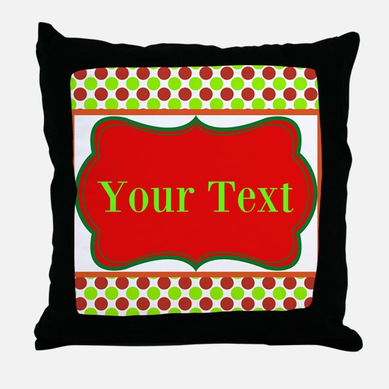Personalizable Red and Green Polka Dots Throw Pill