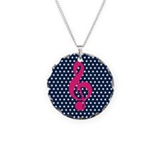 Pink Treble Clef Navy Polka Dots Necklace