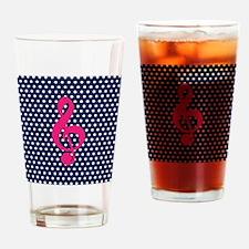 Pink Treble Clef Navy Polka Dots Drinking Glass