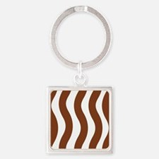 Brown Wavy Stripes Keychains