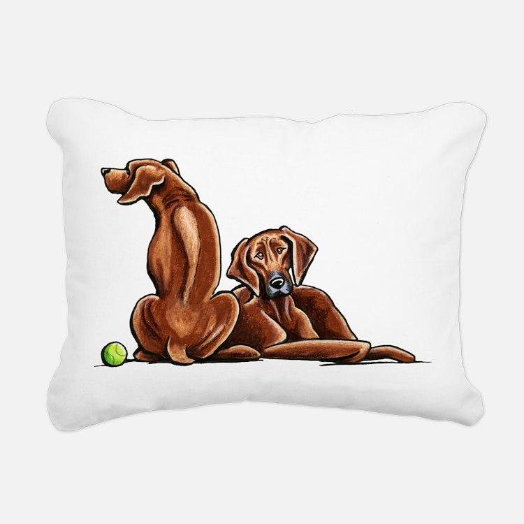 2 Ridgebacks Rectangular Canvas Pillow