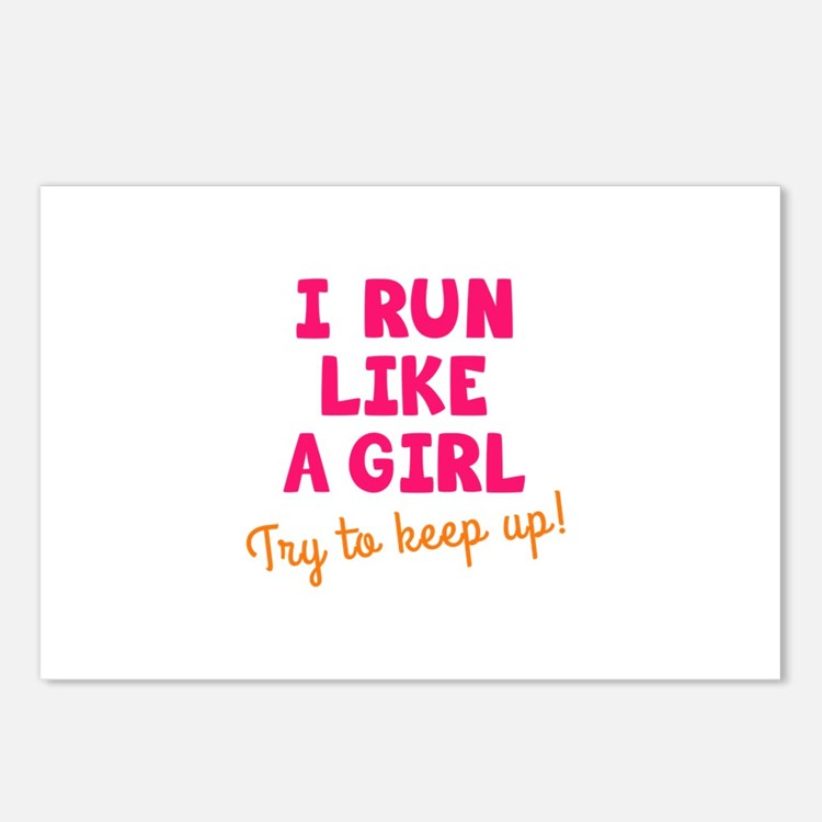 Cute I run like a girl try to keep up Postcards (Package of 8)